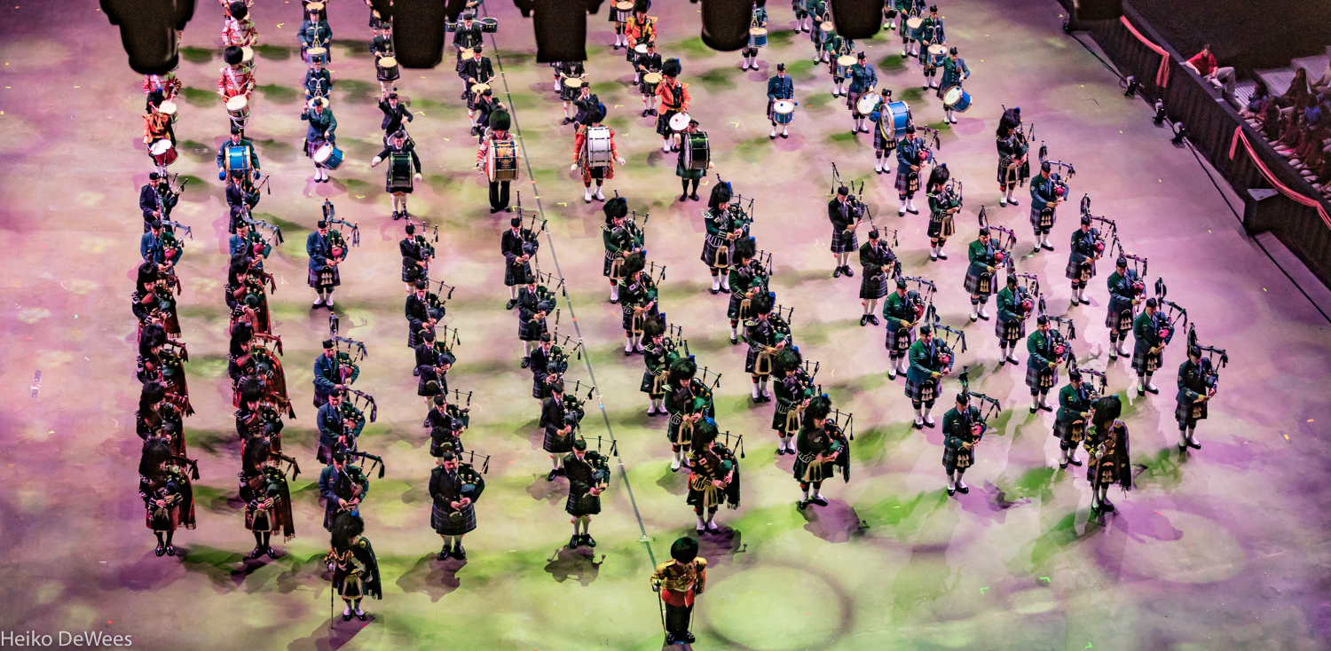The glorious sight of the International Massed Pipes and Drums from Australia, Canada, New Zealand, and Scotland. PHOTO: Heiko DeWees