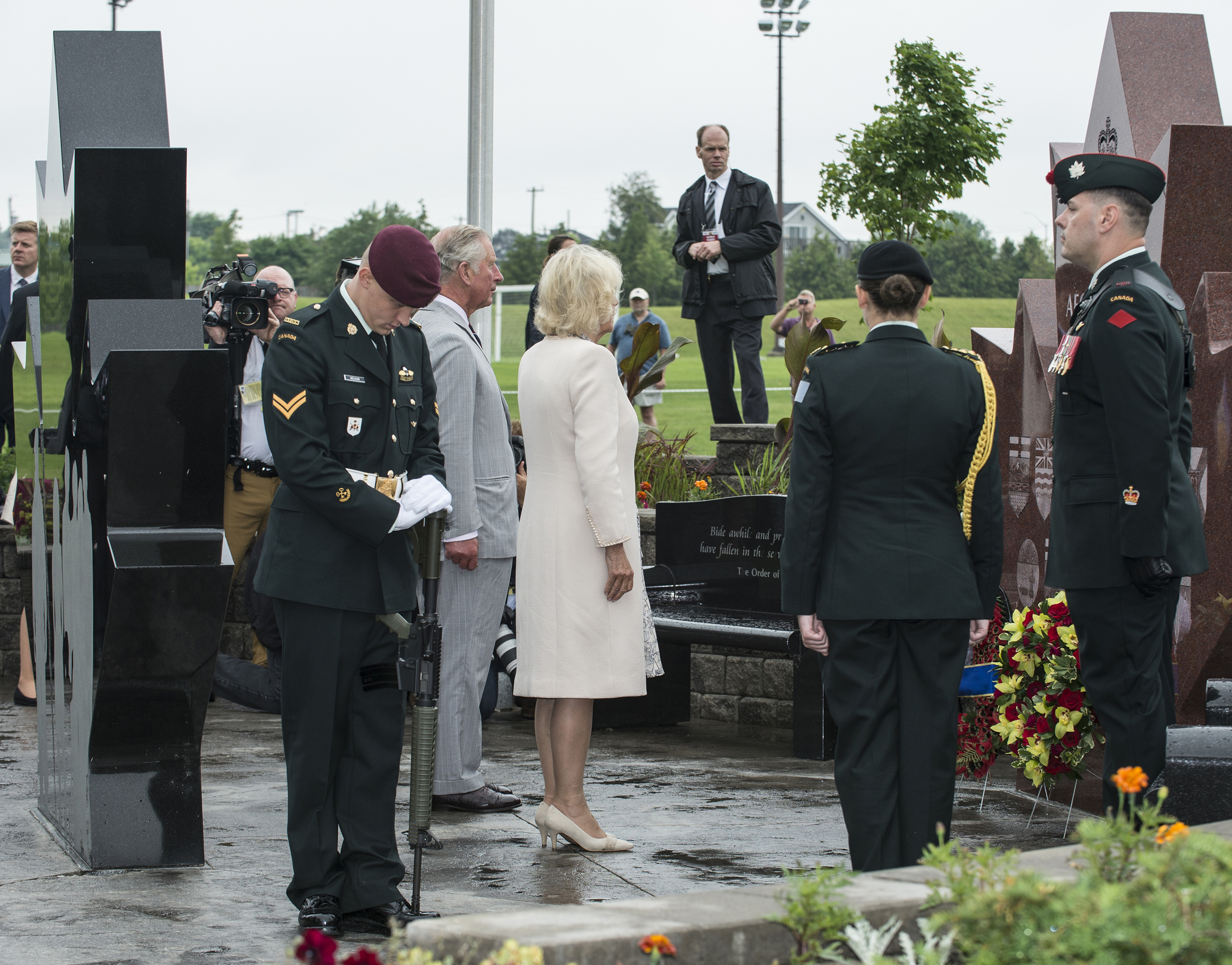 Prince Charles and Camilla, Duchess of Cornwall, pay their respects at the Afghanistan Repatriation Memorial, which honours the memory of the Canadian men and women who gave their lives during the conflict in Afghanistan. PHOTO: Corporal Ken Beliwicz,  TN12-2017-0398-035