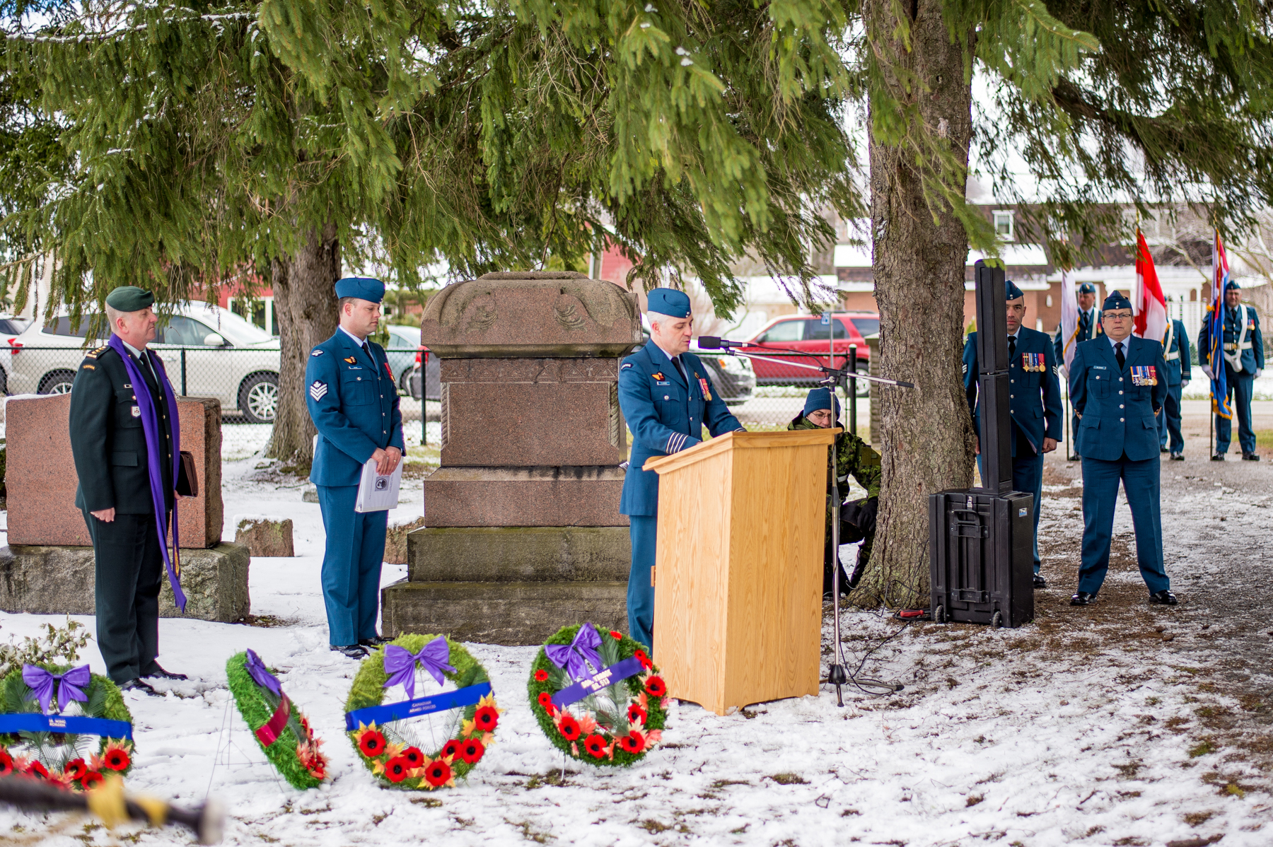 16 Wing Commander Colonel Andrew Fleming addresses attendees of the April 7, 2017, ceremony at Dorchester Union Cemetery, in Dorchester, Ontario, commemorating the 100th anniversary of the death of Cadet James Harold Talbot, who died in a flight training accident on April 8, 1917. Cadet Talbot was the first casualty of military flying in Canada. PHOTO: Corporal Aydyn Neifer, BM03-2017-0107-23