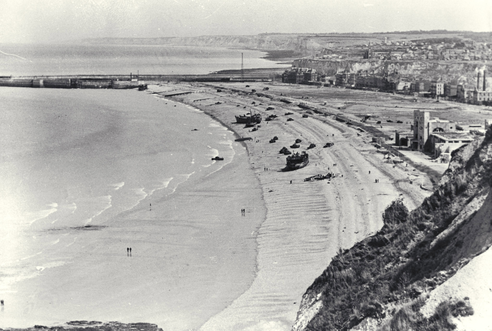 An undated aerial view of the beach at Dieppe, taken some time after the raid. PHOTO: DND Archives, CN-830