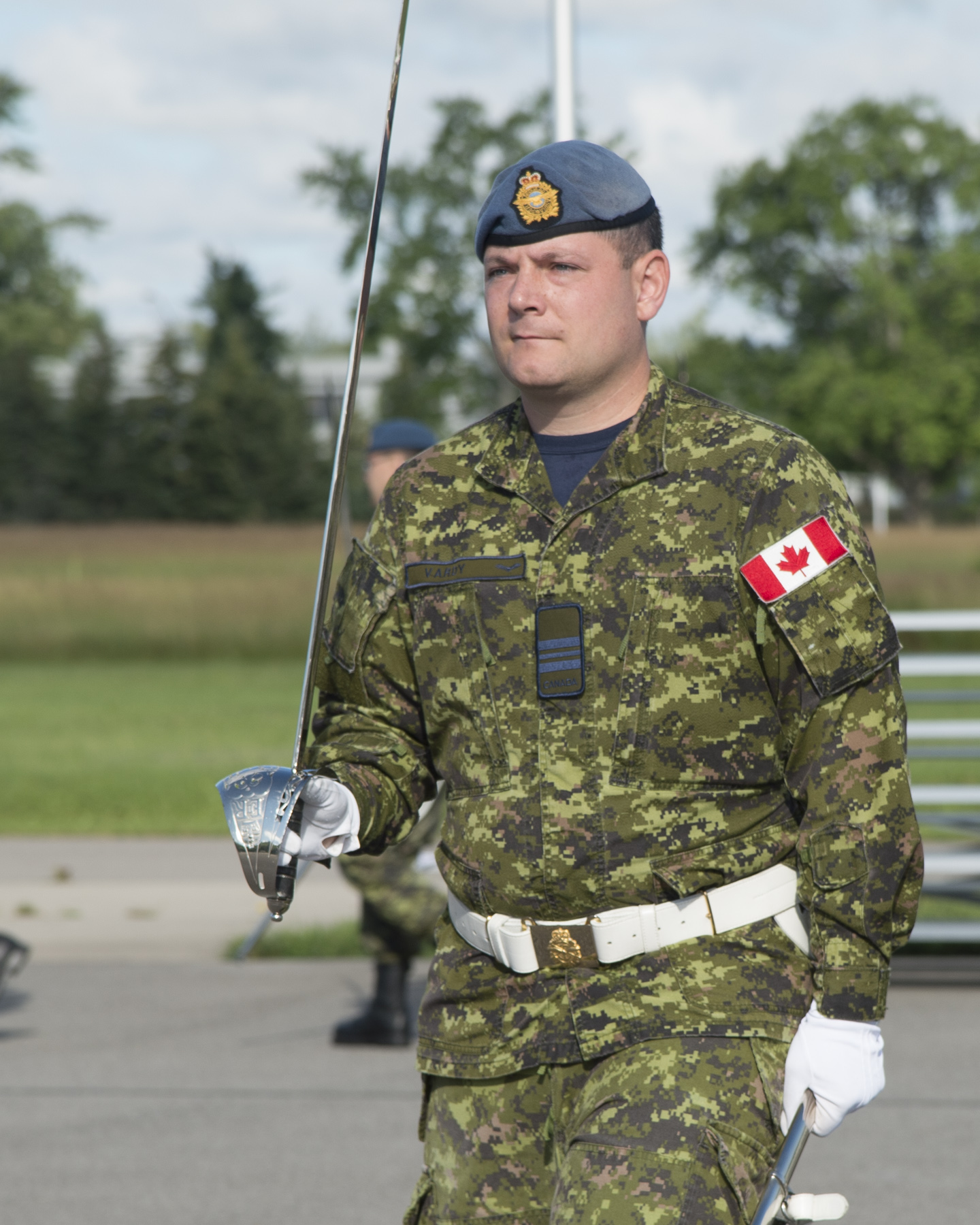 Major Gregory Vardy of 16 Wing Borden, participates in a rehearsal for the RCAF Colours presentation ceremony and parade, to be held at Nathan Phillips Square in Toronto on September 1, 2017. PHOTO: Ordinary Seaman Larissa Halldorson, BM05-2017-0220-27