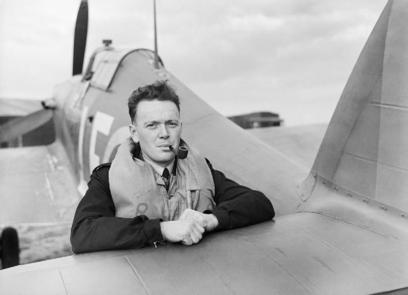 Flight Lieutenant Stan Turner of 424 Squadron, photographed in 1942, leans on the tail of his Hawker Hurricane Mark 1 after landing at Fowlmere, Cambridgeshire. PHOTO: © Imperial War Museum, CH 1376
