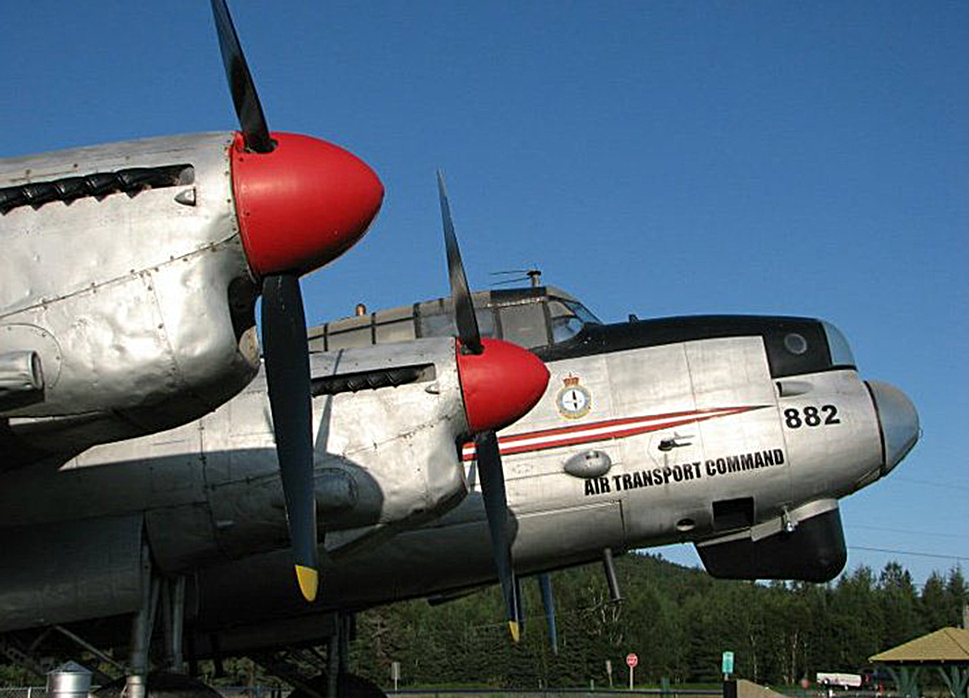 A closeup of Lancaster KB882 on display in Edmundston, New Brunswick, in 2015. Note the Air Transport Command markings and the flying goose badge of 408 Squadron. When the Lanc arrived in Edmundston on July 14, 1964, the squadron was dubbed 408 Tactical Support and Area Reconnaissance Squadron. The squadron is now 408 Tactical Helicopter Squadron and is located in Edmonton, Alberta. PHOTO: Courtesy Alberta Aviation Museum