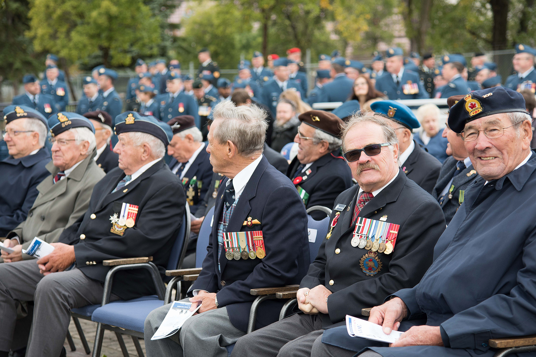 Participants in this year's Battle of Britain commemoration at 17 Wing Winnipeg, Manitoba, included veterans of the Royal Canadian Air Force, the Royal Canadian Air Force Women's Division, the Royal Air Force, the Royal Australian Air Force, the Royal New Zealand Air Force; the United States Air Force, the Wartime Pilots and Observers Association, and the Royal Canadian Air Force Association. PHOTO: Corporal Justin Ancelin, WG-2017-0337-03