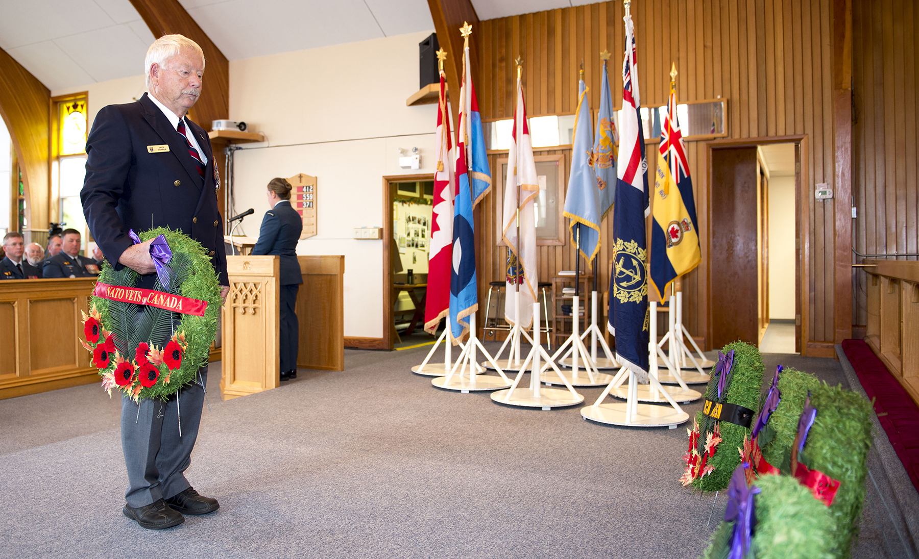 Veteran Jack Shapka prepares to lay a wreath on behalf of the NATO Veterans Organization of Canada during the Battle of Britain service held on September 17, 2017, in St. Michael and All Angels Chapel in Comox, British Columbia. PHOTO: Master Seaman Roxanne Wood, CX04-2017-0355-020
