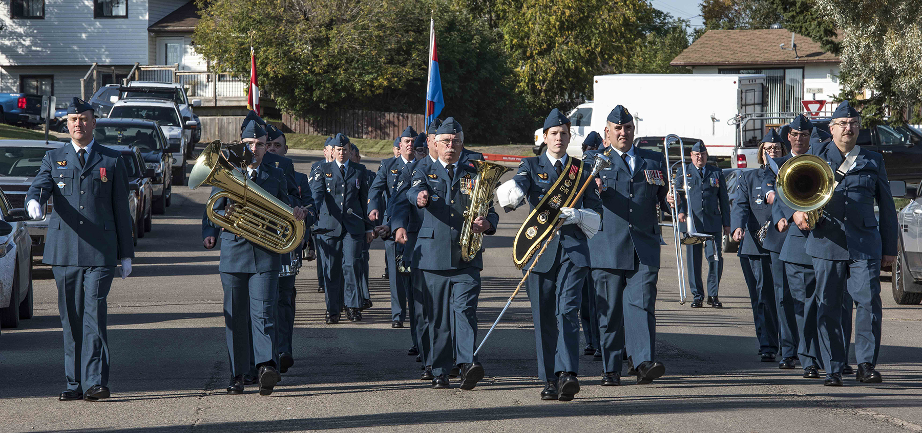 On September 17, 2017, the 4 Wing Band leads 4 Wing Cold Lake personnel to Veterans Memorial Park in Cold Lake, Alberta, to mark the 77th anniversary of the Battle of Britain. PHOTO: Aviator Caitlin Paterson, CK09-2017-0821-001