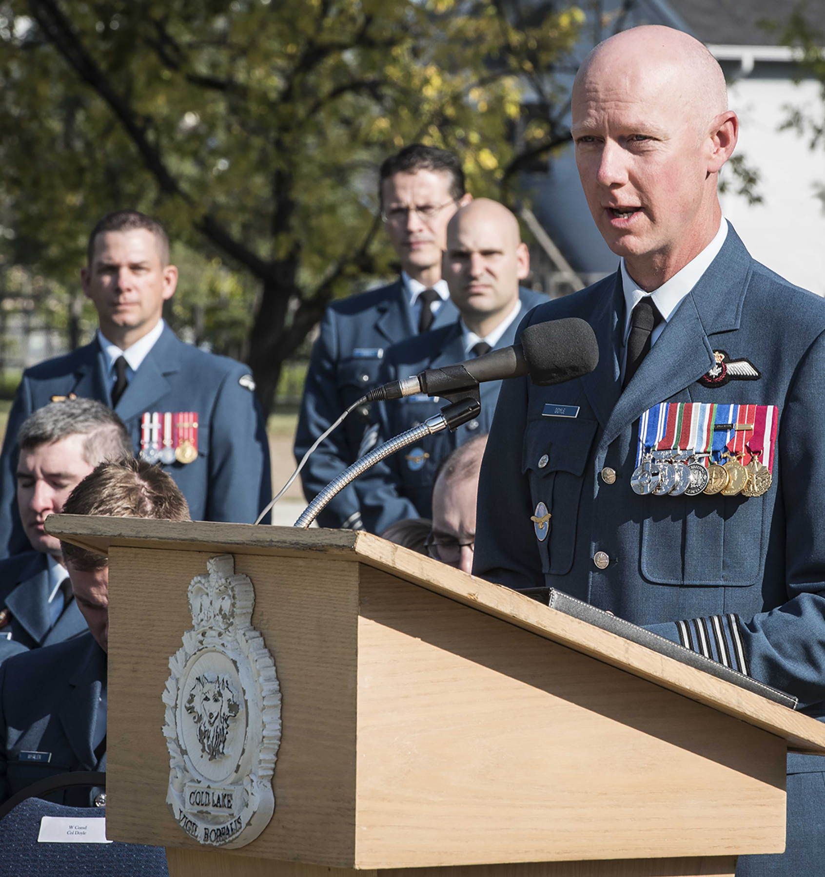 Reviewing officer Colonel Paul Doyle, wing commander, 4 Wing Cold Lake, Alberta, addresses attendees of the Battle of Britain Parade at Veterans Memorial Park marking the 77th anniversary of the Battle of Britain on September 17, 2017 in Cold Lake. PHOTO: Aviator Caitlin Paterson, 4 Wing Imaging CK09-2017-0821-004