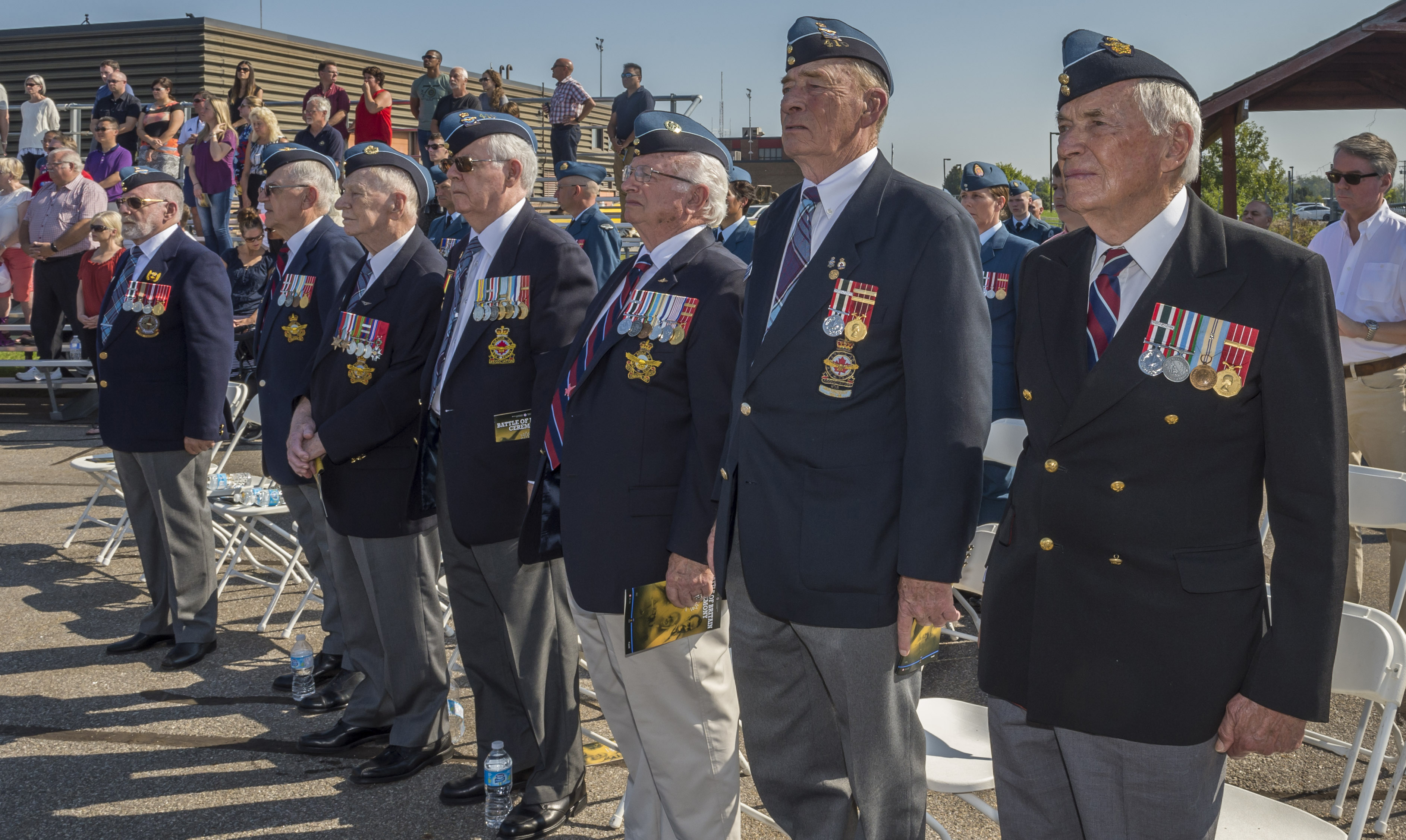 Air Force veterans attend the national Battle of Britain commemorative ceremony in Gatineau, Quebec, on September 17, 2017. From left to right: Mathew Carson, veterans parade commander and second vice president of 410 Wing, Royal Canadian Air Force Association, in Ottawa;  Michael Harrison, 410 Wing; Robert Bradley, 410 Wing member and Second World War veteran; John Makichuk, 410 Wing; Wib Neal, retired RCAF; Jack Donnelly, 410 Wing; and  Jack DesBrisey, 410 Wing. PHOTO: Corporal Alana Morin, FA03-2017-0119-003