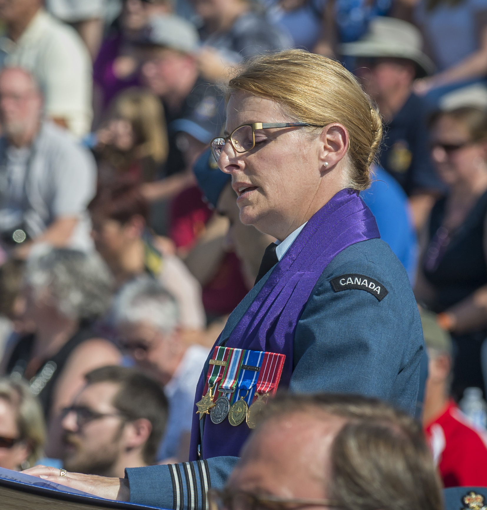 The RCAF's senior chaplain, Lieutenant-Colonel Martine Bélanger, delivers the benediction during the national Battle of Britain commemorative ceremony in Gatineau, Quebec, on September 17, 2017. PHOTO: Corporal Alana Morin, FA03-2017-0119-104