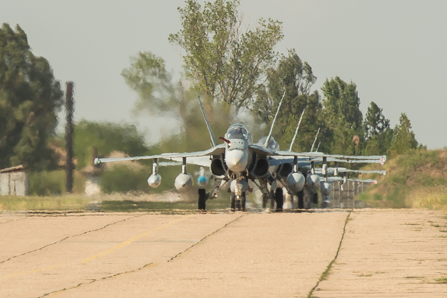 On August 20, 2017, four CF-188 Hornet fighters from 409 Tactical Fighter Squadron, located at 4 Wing Cold Lake, Alberta, arrive at Mihail Kogalniceanu Air Base, Constanta, Romania. The aircraft are taking part in NATO's enhanced air policing as part of Canada's Air Task Force-Romania, which will last until December 2017. PHOTO: Sergeant Daren Kraus, RP14-2017-0002-05