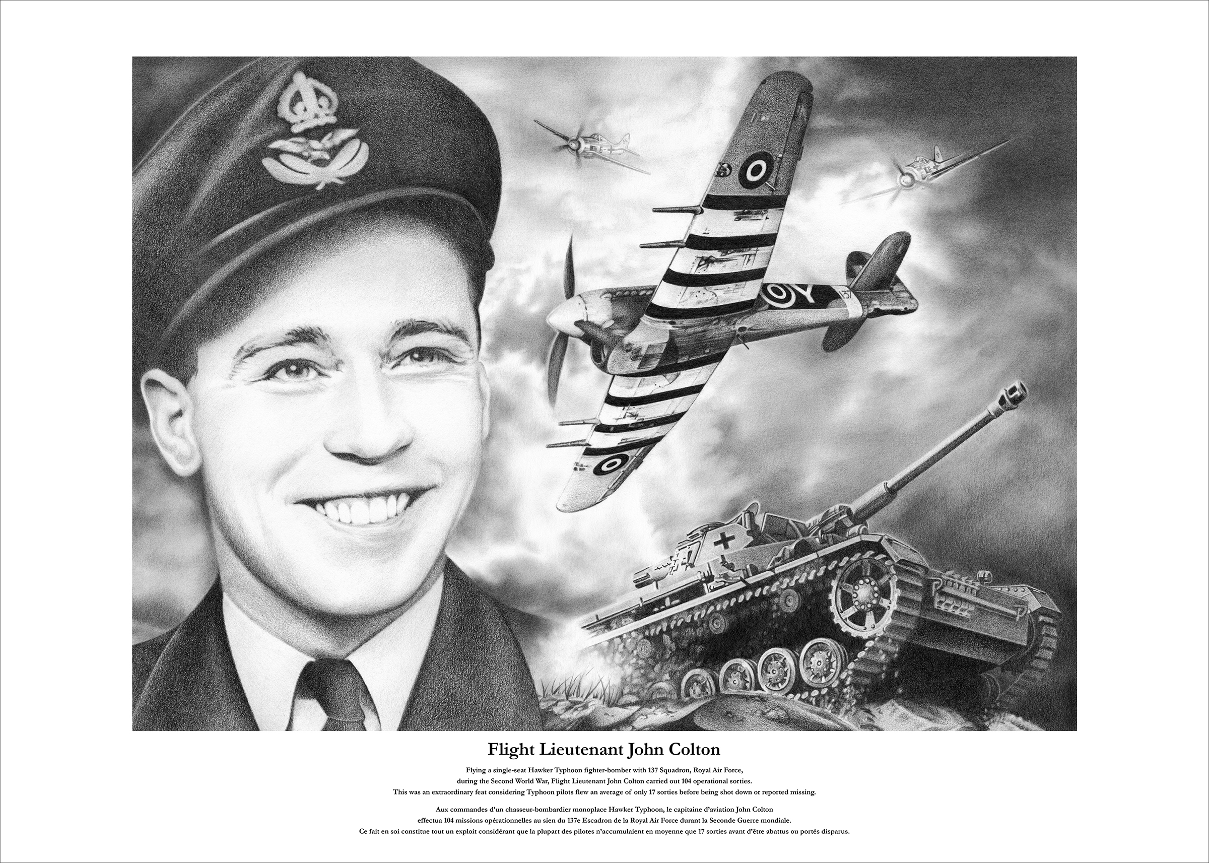 A black and white pen and ink montage of the head and shoulders of a man in military uniform, three aircraft and a tank.