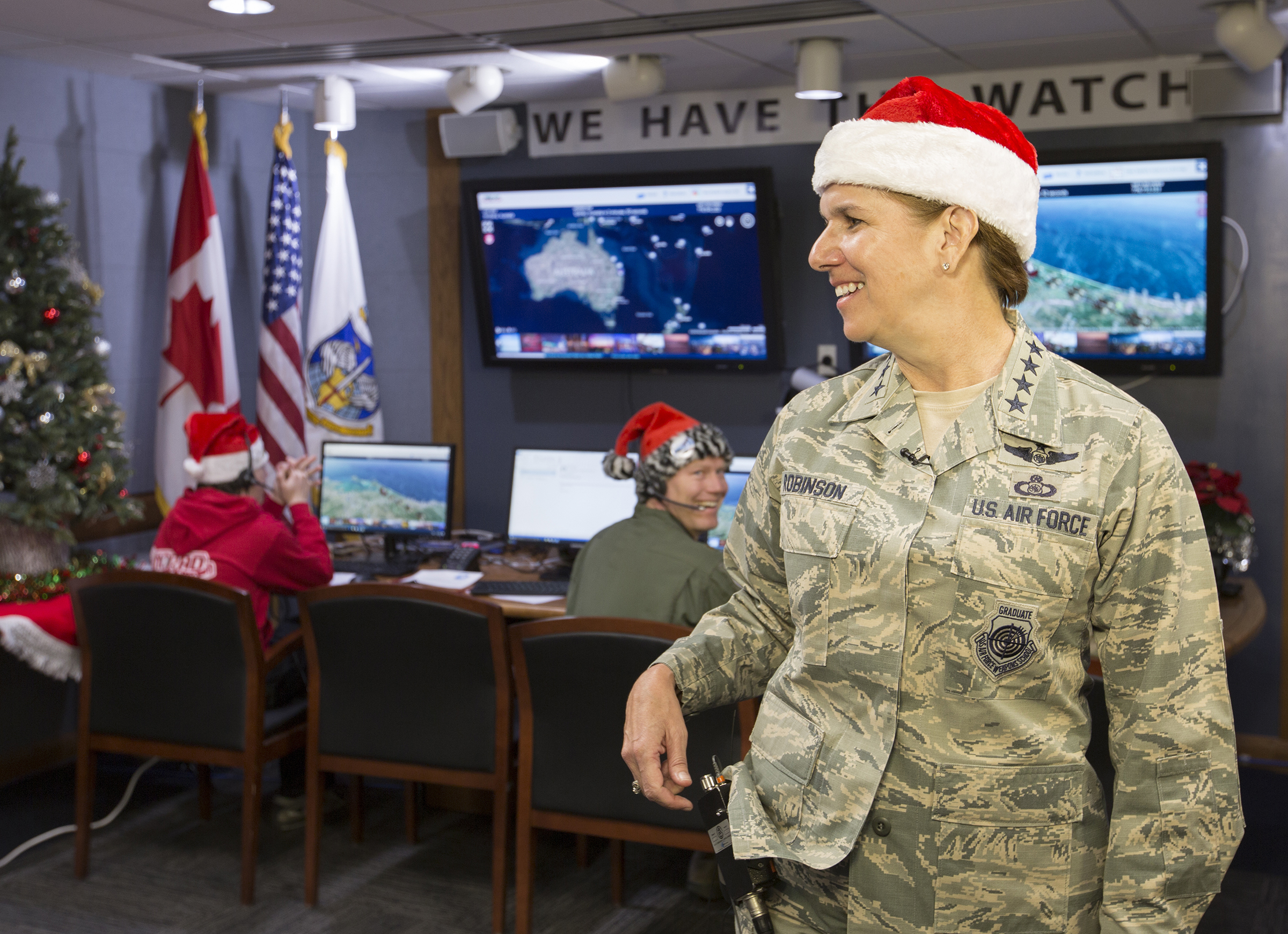 U.S. Air Force General Lori J. Robinson, the commander of North American Aerospace Defense Command and U.S. Northern Command, gives a national media interview during the 2016 NORAD Tracks Santa event at Peterson Air Force Base in Colorado on December 24, 2016. PHOTO: Dennis Carlyle, NORAD, 61224-F-CN249-094