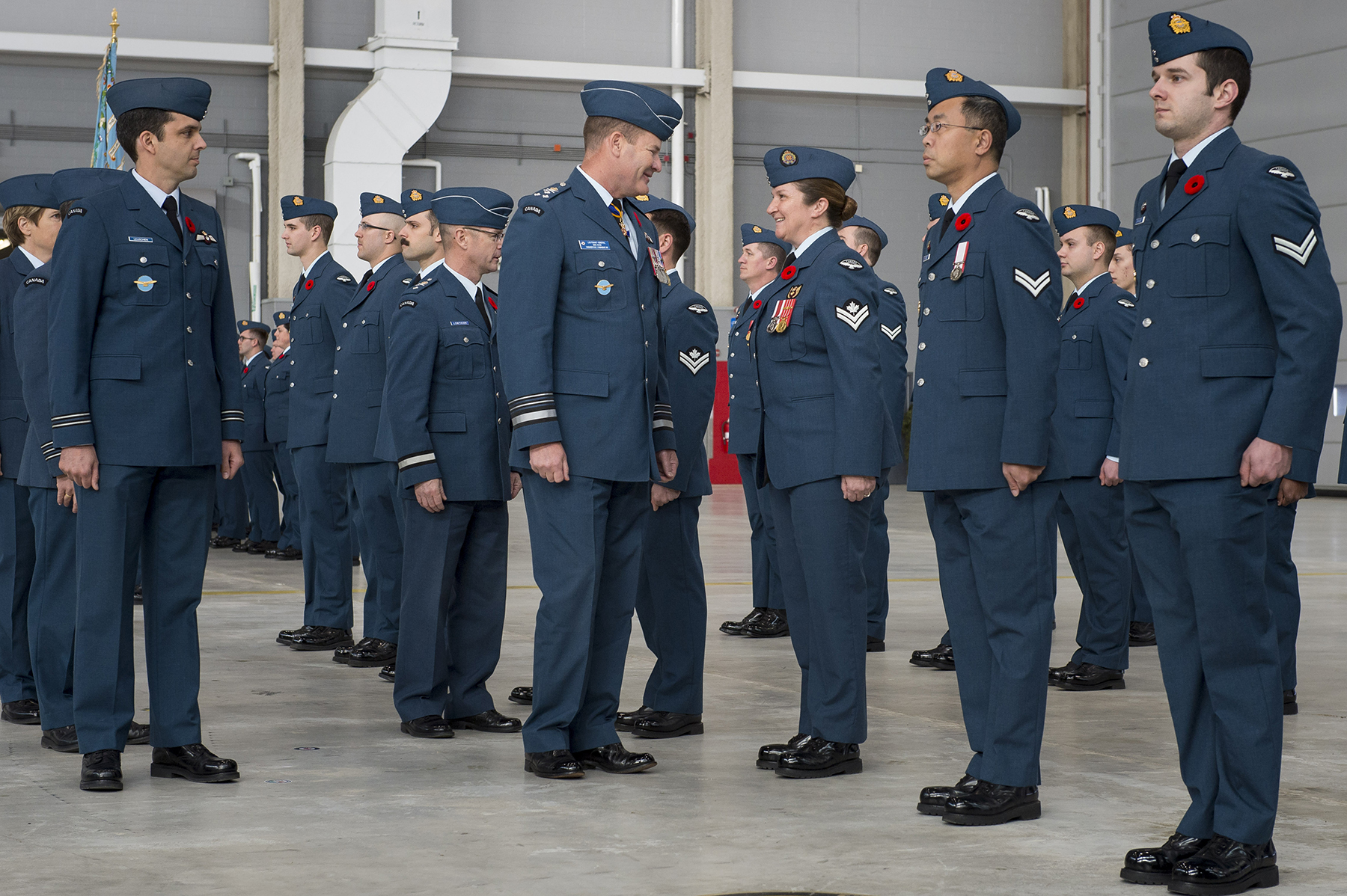 Royal Canadian Air Force commander Lieutenant-General Michael Hood (centre) and Brigadier-General David Lowthian (centre left), chief of staff to the Chief of the Defence Staff, inspect members of 429 Transport Squadron on parade on November 7, 2017, for the squadron's 75th anniversary. Brigadier-General Lowthian is a former commanding officer of 429 Squadron, and oversaw the introduction of the CC-177 Globemaster III fleet. PHOTO: Ordinary Seaman Paul Green, TN05-2017-0661-082