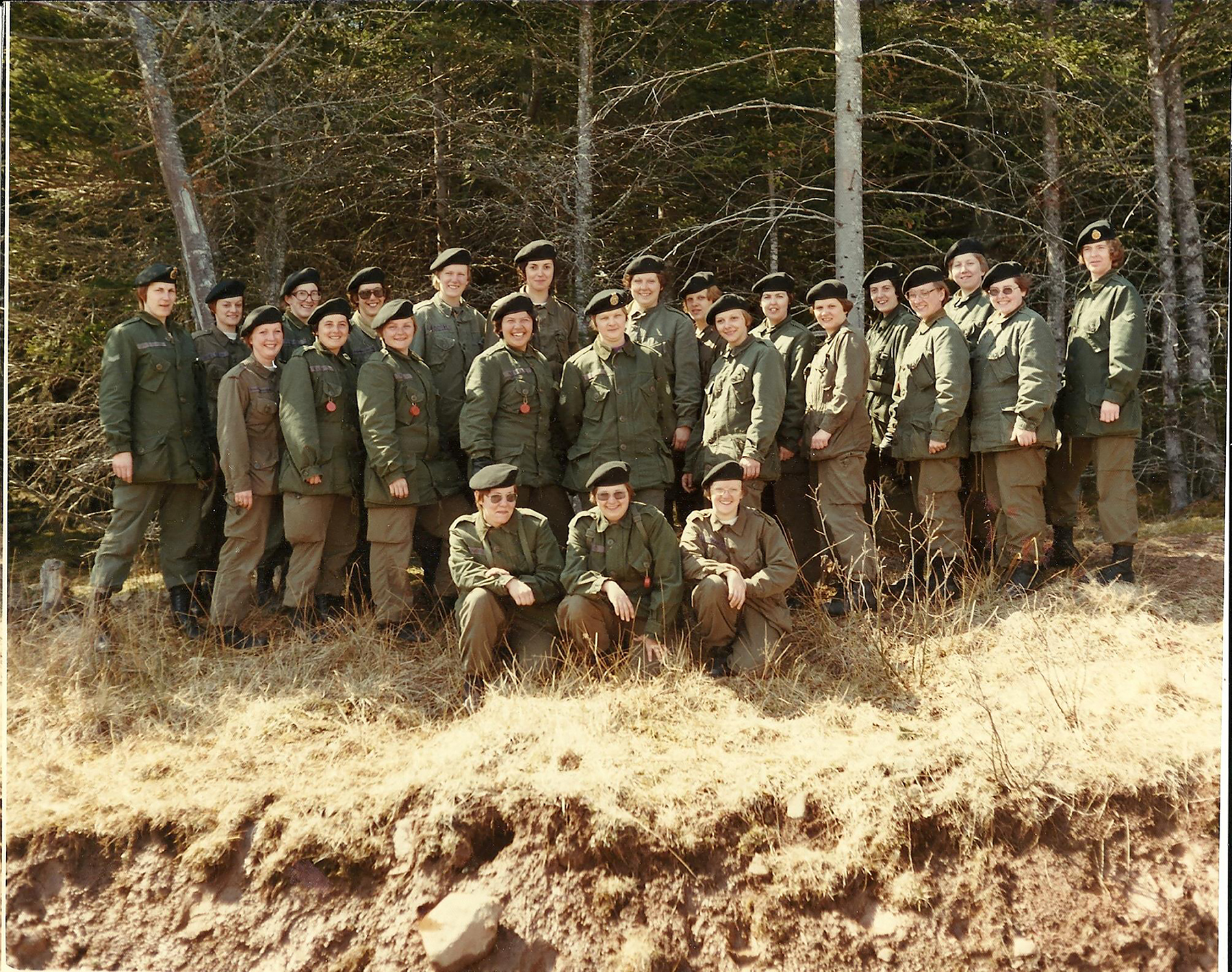 Captain Cathy Coombs (back row, third from the left) stands with her group during basic training in Granville, Cornwallis, Nova Scotia, in 1976. PHOTO: Submitted