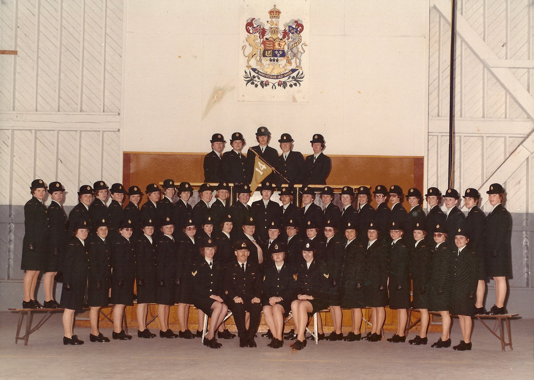 In her official basic training graduation ceremony photograph taken at Cornwallis, Nova Scotia, in 1976, Private Cathy Coombs stand in the second row from the top, seventh from the right. PHOTO: Submitted
