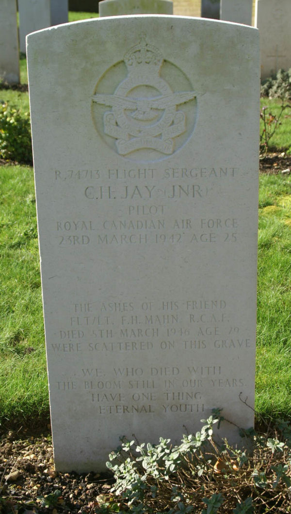 The gravestone of Flight Sergeant Clyde Homer Jay, Jr., in England. He is one of 10 Coloradans who served in the RCAF and RAF during the Second World War and were recently inducted into the Colorado Aviation Hall of Fame. PHOTO: Via the Canadian Virtual War Memorial
