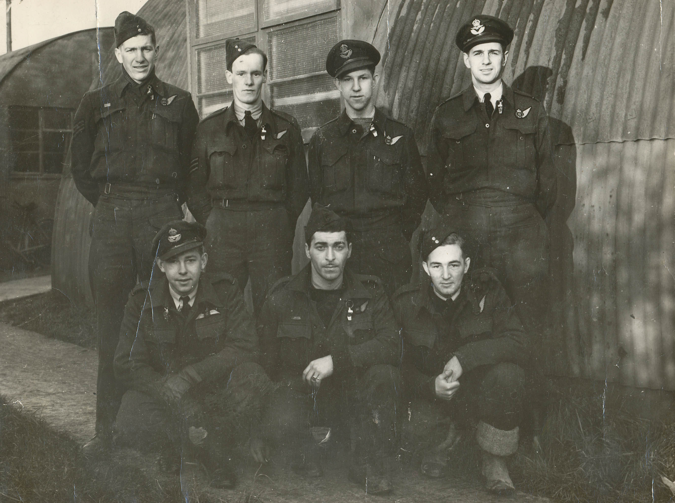 In 1944, Frank Poole's crew from the RCAF's 420 Squadron, which was part of No. 6 Bomber Group, in Yorkshire, United Kingdom: (front row, left to right): Bob Ireland, pilot; Sam Camerman, rear gunner; Leo Penny, wireless operator; (back row, left to right): Frank Poole, mid upper gunner; Ron Hutchinson, Royal Air Force engineer; Billy Dennis, navigator; and Bill Webb, bomb aimer. All except Frank Poole and Sam Camerman perished when their aircraft was shot down on a mission to bomb Magdeburg, Germany on January 16, 1945. PHOTO: The Memory Project