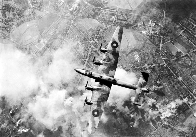 A Handley-Page Halifax heavy bomber takes part in a raid on an oil refinery complex in Germany's Ruhr Valley in December 1944. PHOTO: Royal Air Force