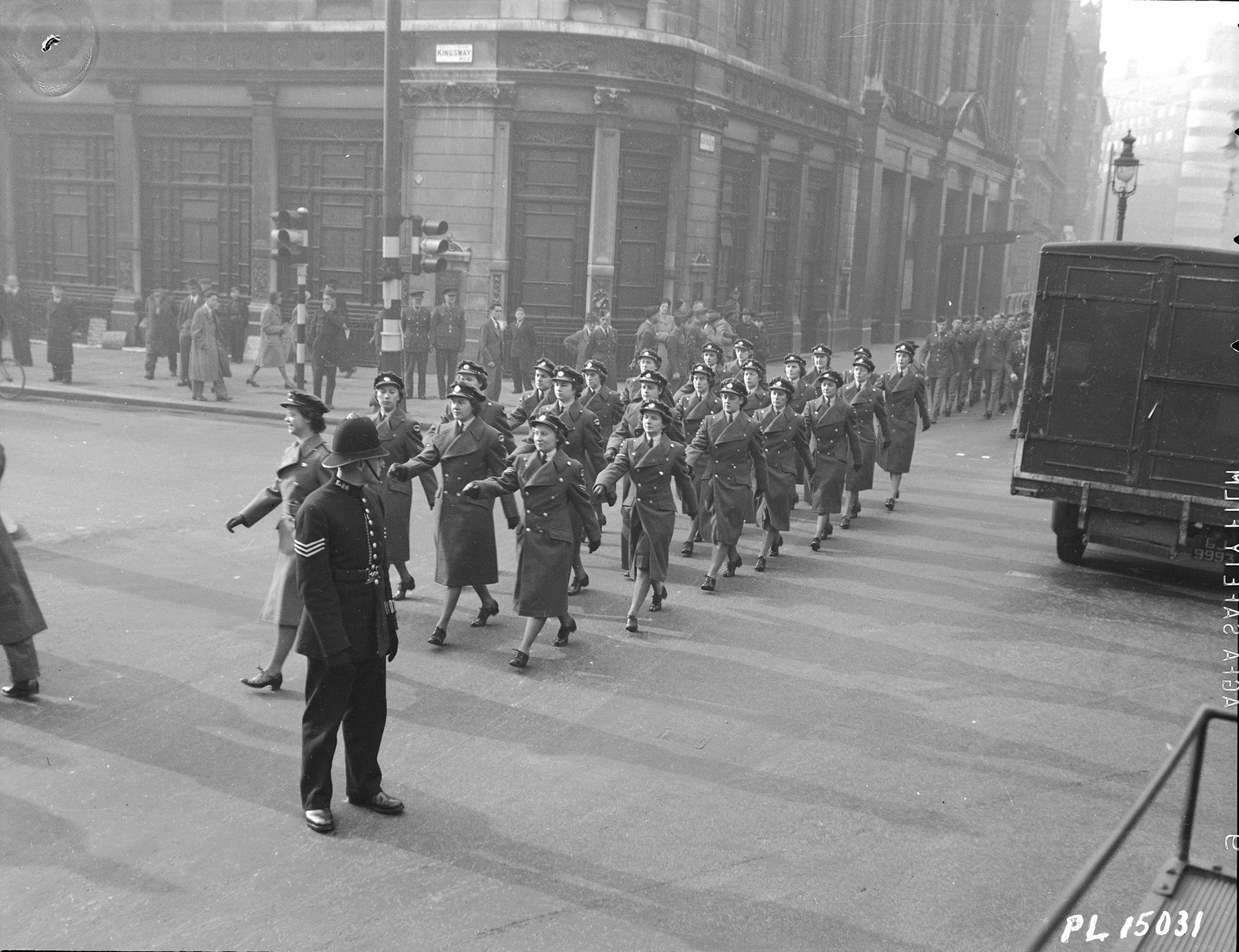 Members of the Royal Canadian Air Force Overseas Women's Division march through the streets of London, England, in the Remembrance Day Church Parade held November 12, 1942. PHOTO: DND Archives, PL-15031