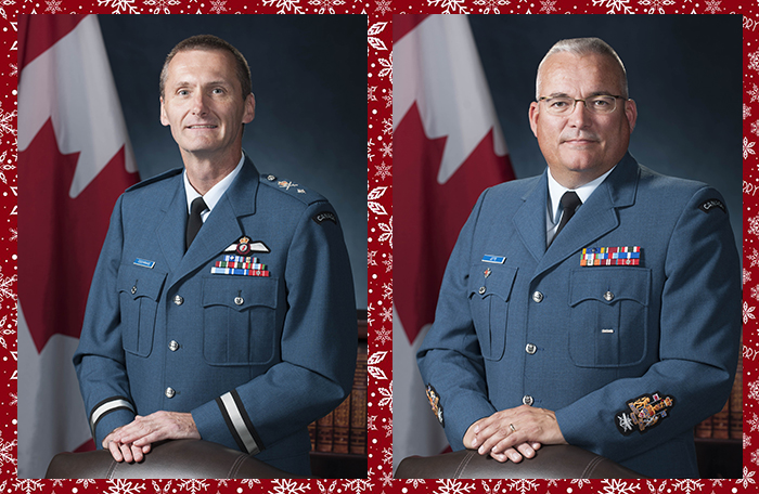 A photo montage of two head-and-shoulders portraits of men wearing air force blue dress uniforms.