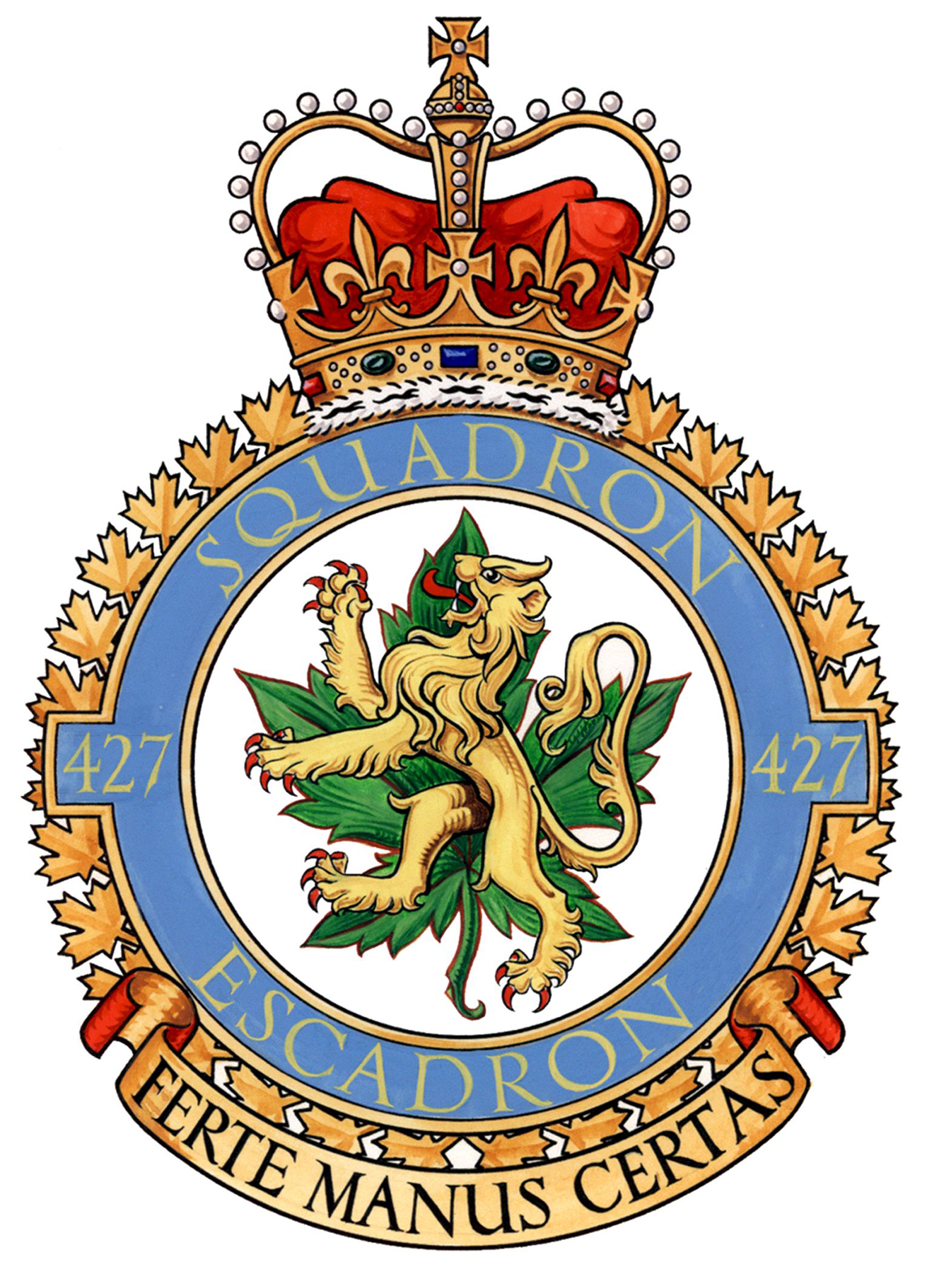"427 Squadron's badge shows a lion standing upright with its forepaws raised in front of a green maple leaf. The combination of a lion representing the United Kingdom and a maple leaf representing Canada indicates the formation of the squadron in England. The squadron's motto is ""Ferte manus certas"" – ""Strike with a sure hand"". IMAGE: DND"