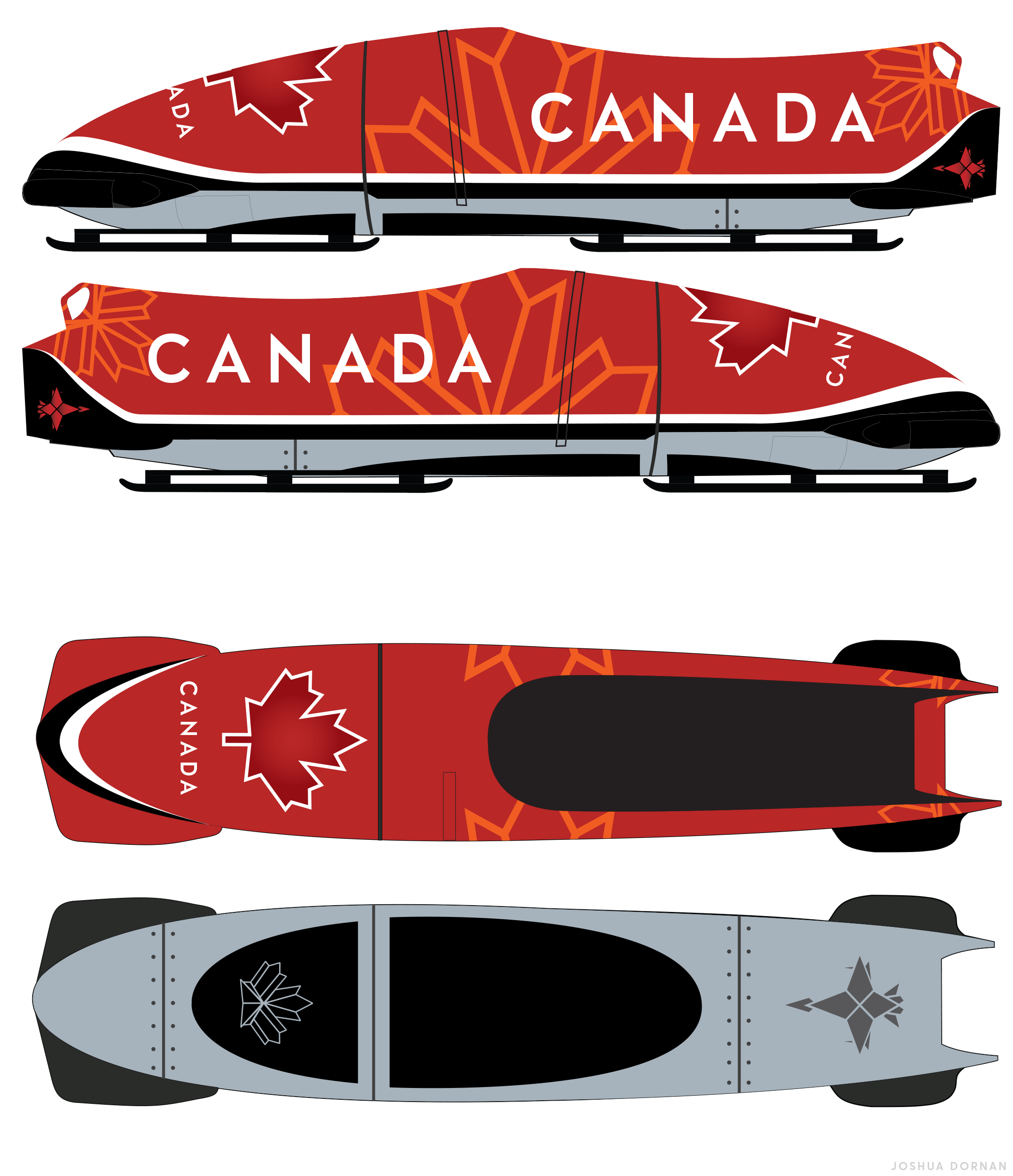 The design of the bobsleigh and skeleton sleds that Canada's Olympic teams will use during the 2018 Winter Olympics next month are inspired by the design the Royal Canadian Air Force's 2017 CF-18 Demonstration Hornet that commemorated the 150th anniversary of Canadian Confederation. This is the graphic design concept for the bobsled. IMAGE: Bobsleigh Canada Skeleton