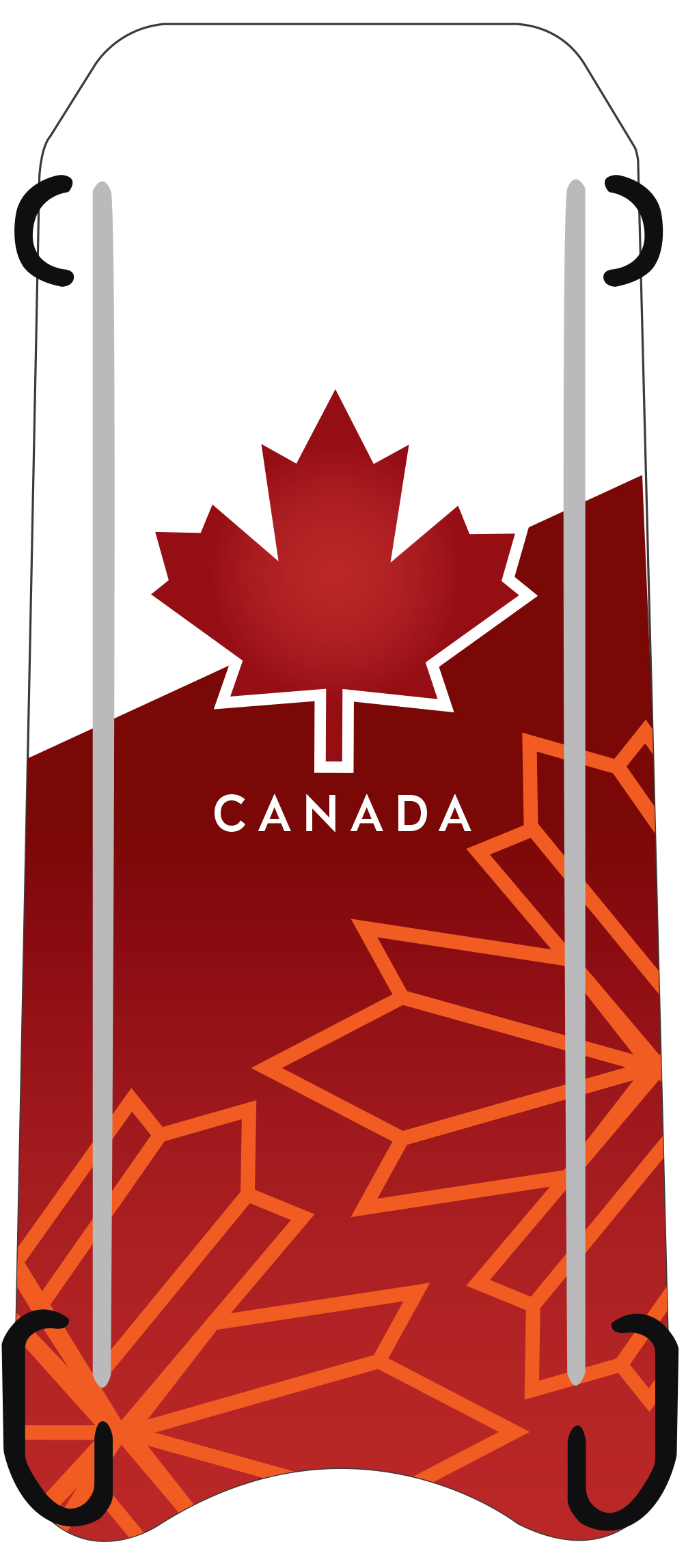 The design of the bobsleigh and skeleton sleds that Canada's Olympic teams will use during the 2018 Winter Olympics next month are inspired by the design the Royal Canadian Air Force's 2017 CF-18 Demonstration Hornet that commemorated the 150th anniversary of Canadian Confederation. This is the graphic design concept for the skeleton sled. IMAGE: Bobsleigh Canada Skeleton
