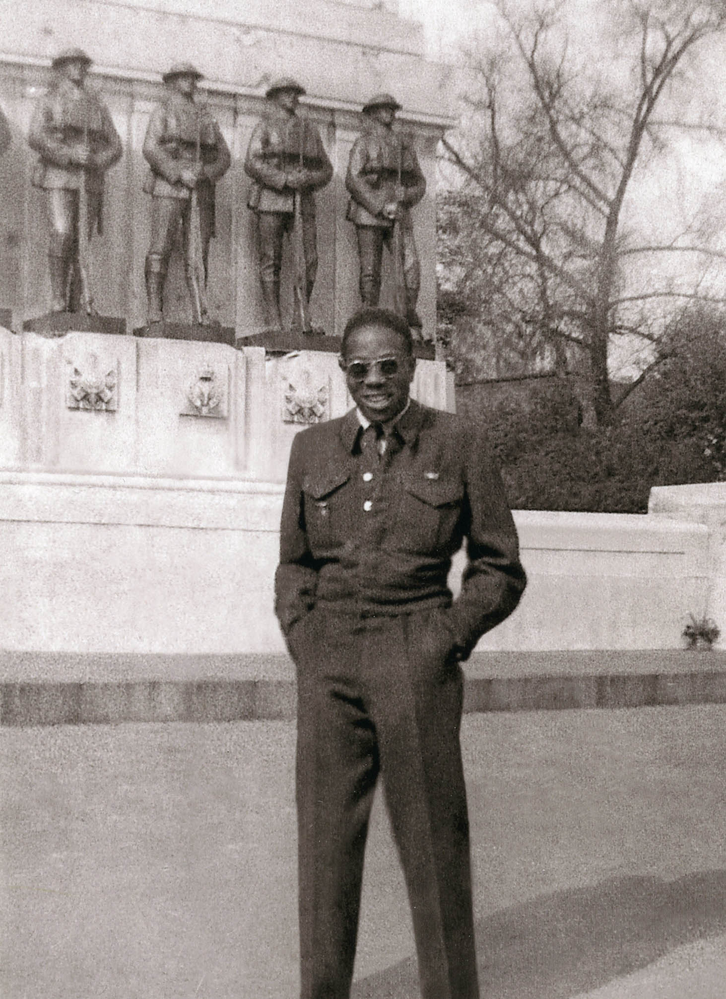 Leonard Braithwaite joined the RCAF in 1943 after being turned away several times at the recruiting centre in Toronto He served as groundcrew in the Royal Canadian Air Force's No. 6 Bomber Group during the Second World War. In this photo, he poses in front of a war memorial in London, England, shortly after V-E Day. He became the first Black member of a provincial legislature in Canada, being elected to the Ontario legislature in 1963.PHOTO: Leonard Braithwaite via The Memory Project, www.thememoryproject.com