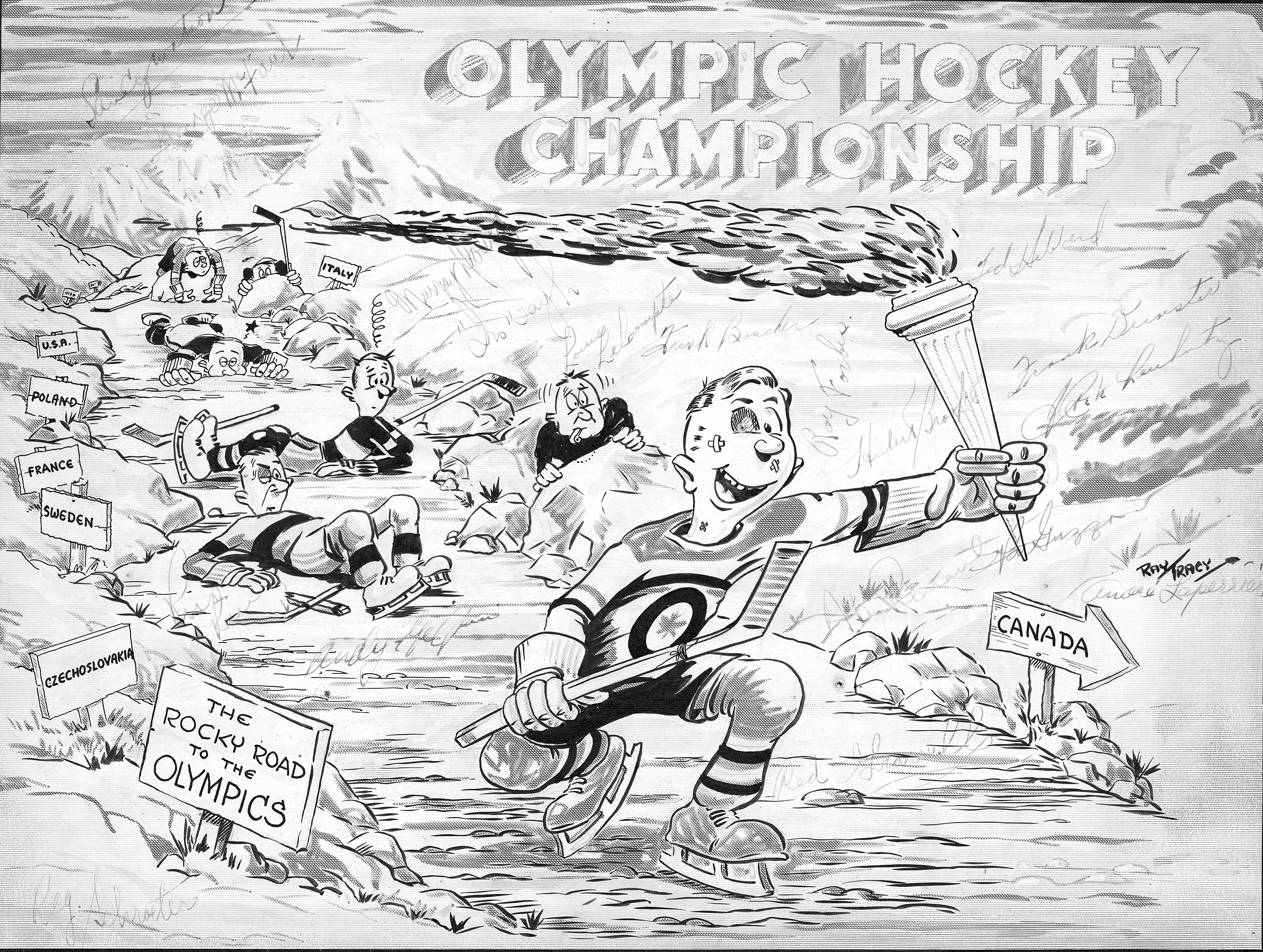 "In a cartoon titled ""Canadian Olympic Championship"", RCAF graphic artist Warrant Officer Class 1 Ray Tracy portrays a member of the RCAF Flyers hockey team skating past the other nations to victory. The sign beside the hockey player's path reads ""The Rocky Road to the Olympics"". This particular copy of the cartoon has been signed by members of the RCAF Flyers team. PHOTO: RCAF Archives, FA2010-1009-001"