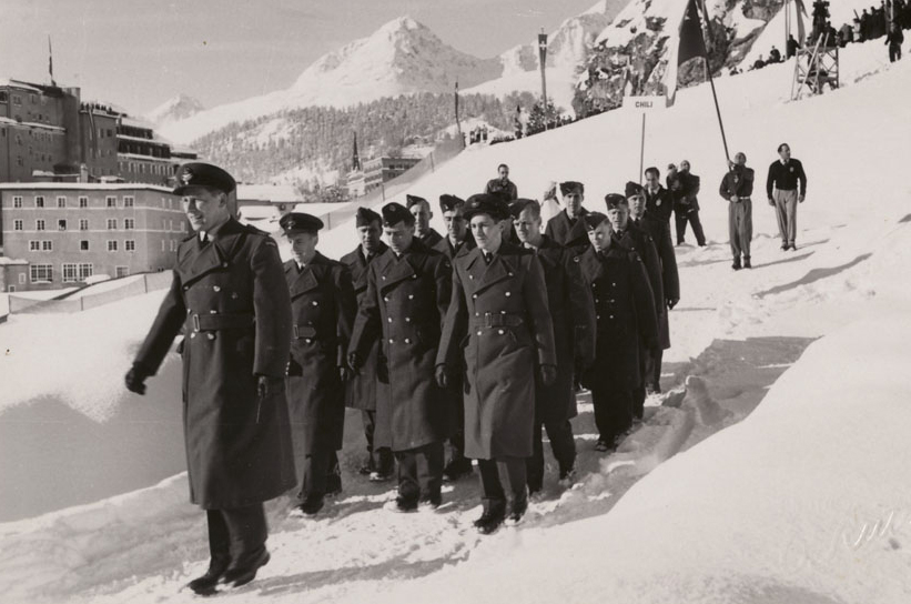 The RCAF Flyers hockey team participate in the opening ceremonies of the 1948 Winter Olympics in St. Moritz, Switzerland, on January 30, 1948. PHOTO: LAC MIKAN no. 4842037