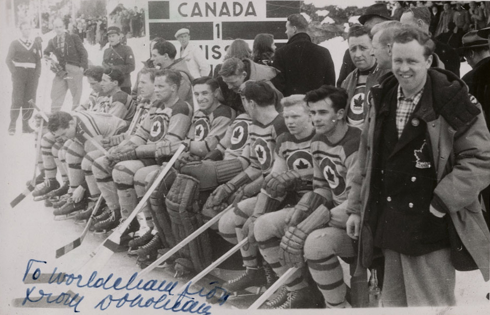 The RCAF Flyers hockey team on the players' bench during a game against the Swiss national men's hockey team at the 1948 Winter Olympic Games in St. Moritz, Switzerland, on February 8, 1948. PHOTO: LAC MIKAN no. 4842050