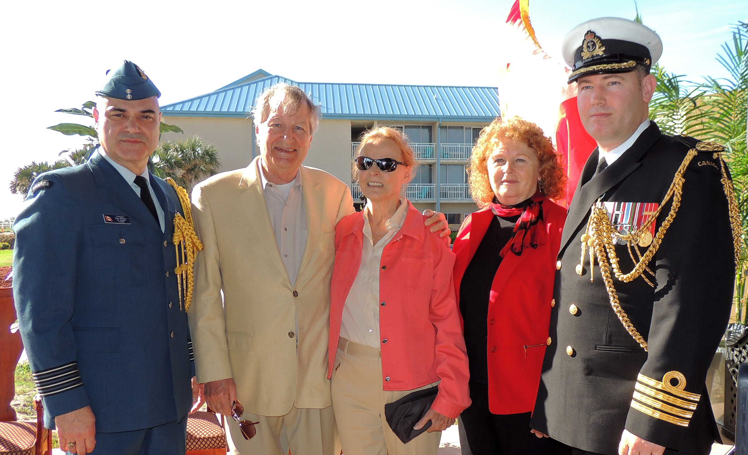 (From left) Colonel Tom Dunne, air attaché at the Embassy of Canada in Washington; Mr. Dick Troy; Mrs. Pauline Troy; Ms Susan Harper, Consul General of Canada in Miami; and Captain (Navy) Kristjan Monaghan, naval attaché at the Embassy of Canada; paused for a photo before the formal ceremony commemorating Lieutenant Barry Troy began. PHOTO: Joanna Calder, RCAF public affairs