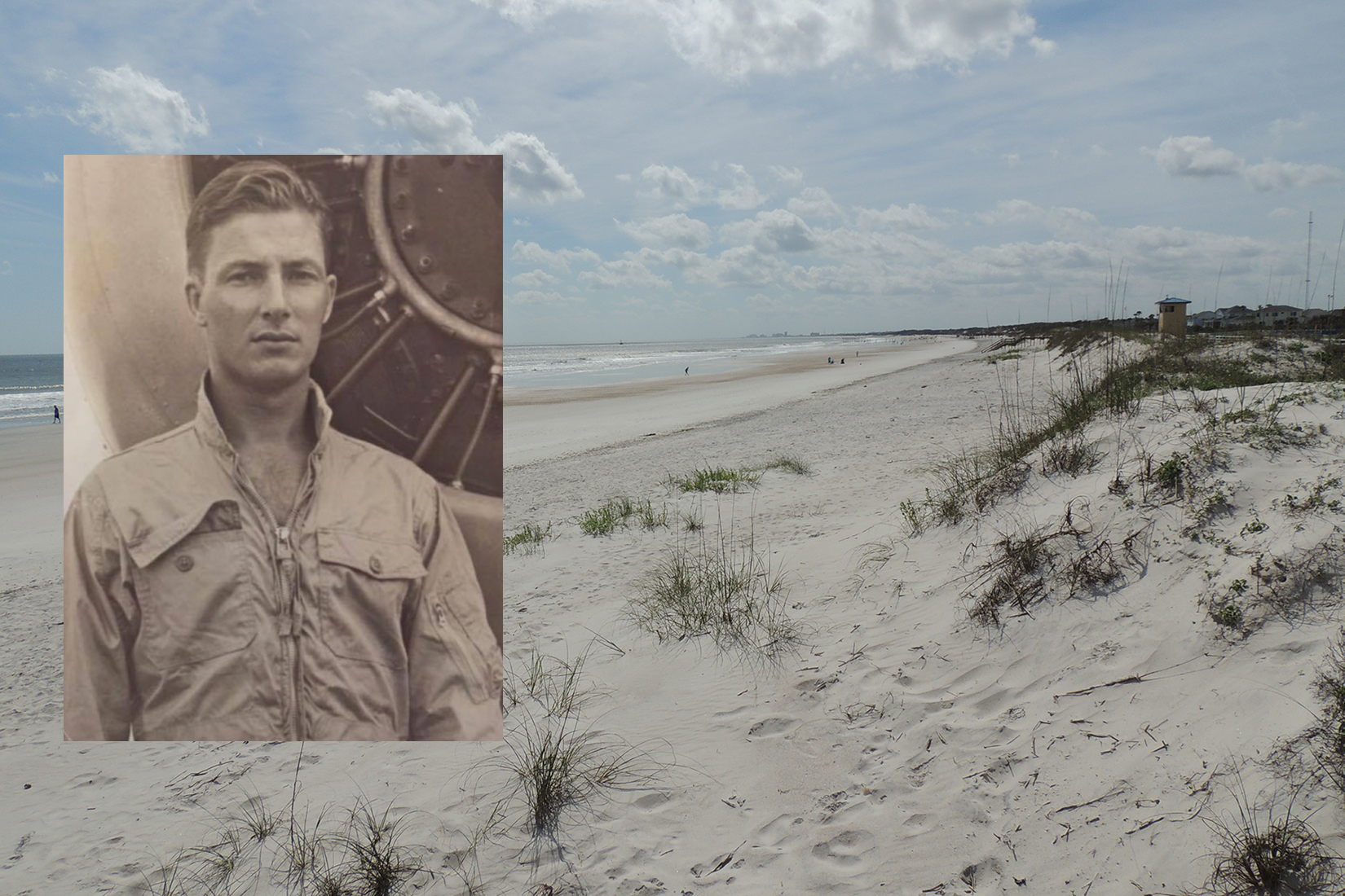 A montage of a beach and a photo of a man.