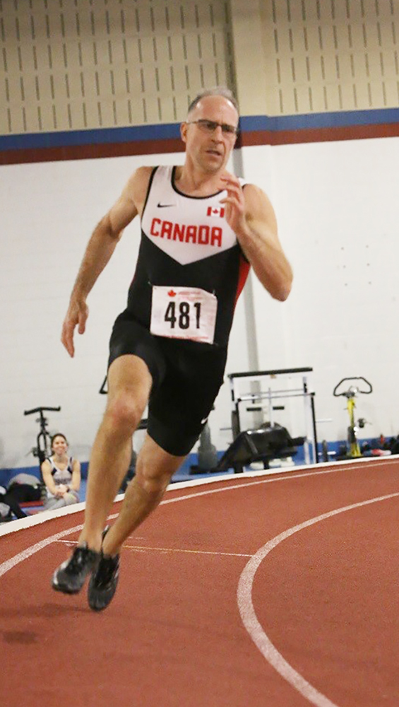 At the Canadian Masters Indoor Championships in Toronto, Ontario, on March 10 and 11, 2018, Major Serge Faucher, from National Defence Headquarters, races to a silver-medal finish with a time of 25.49 seconds in the 200m PHOTO: John MacMillan