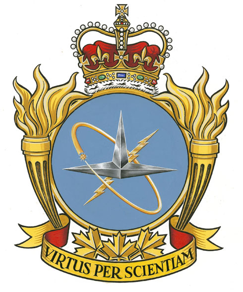 "Elements in the badge of the Canadian Forces School of Aerospace Studies, now renamed the RCAF W/C William G. Barker VC Aerospace College, include a lightning bolt and three isosceles triangles joined at their bases, all encircled by an orbiting electron. The motto is ""Virtus per Scientiam"", which translates as ""Strength through science""."