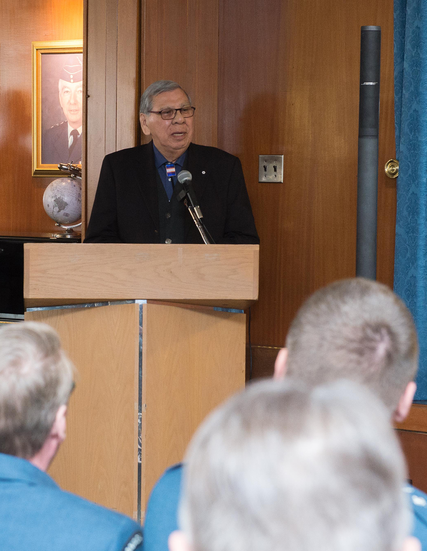 On March 21, 2018, Elder Mr. Harry Bone, asks a blessing during the change of appointment Ceremony at 17 Wing Winnipeg, Manitoba. PHOTO: Corporal Darryl Hepner, WG2018-0120-008