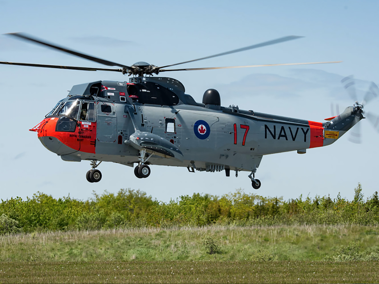 A dark grey helicopter with red, blue and white markings hovers over grass.