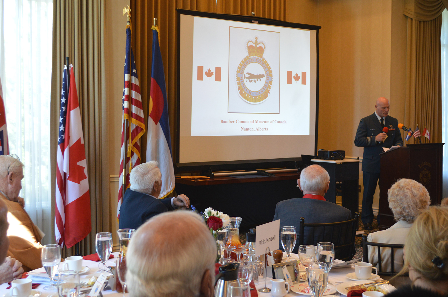 RCAF Colonel Kyle Paul speaks at the October 13, 2018, banquet held at the Colorado Aviation Hall of Fame in conjunction with the ceremony inducting Ralph Hendricks into the CAHF. PHOTO: Submitted