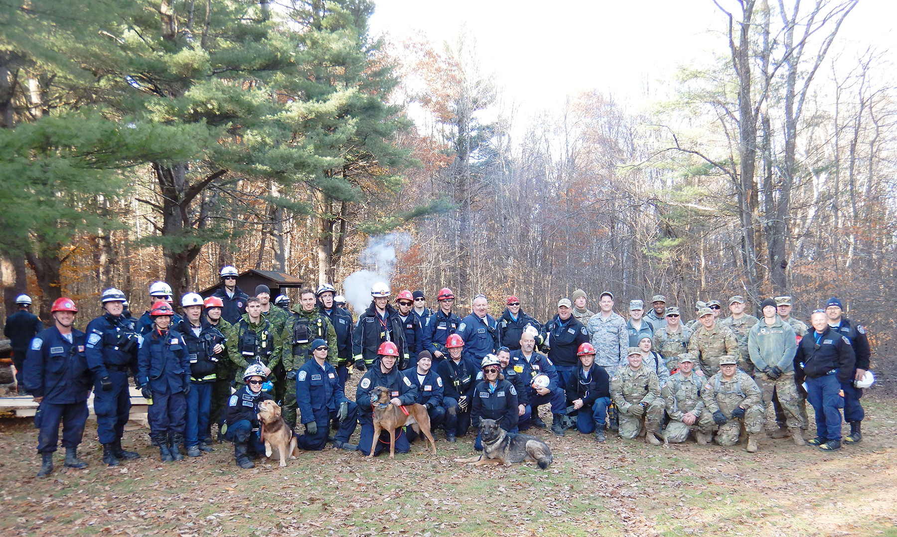Many people—some wearing light or dark green disruptive pattern uniforms, or dark blue uniforms, some wearing red or white helmets—and three dogs gathered in a clearing in a wooded area, with white smoke rising in the background.