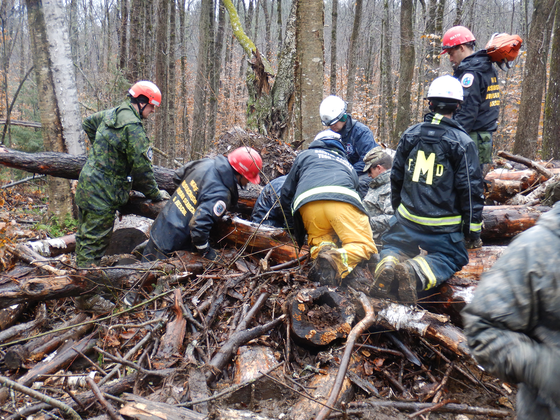 Corporal Mark Milne, from 8 Wing Trenton, Ontario, works to extract a casualty from under a fallen tree during Exercise Vigilant Guard, held in Massachusetts from November 5 to 8, 2018. PHOTO: Submitted