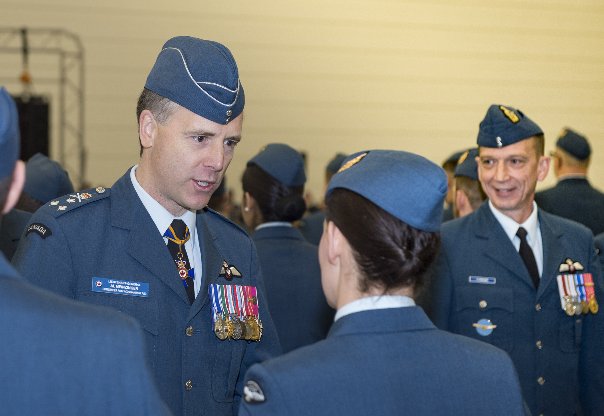 Lieutenant-General Al Meinzinger, commander of the RCAF, reviews aviators participating in the parade. PHOTO: Leading Seaman Laurance Clarke, SW05-2018-0497-601-2