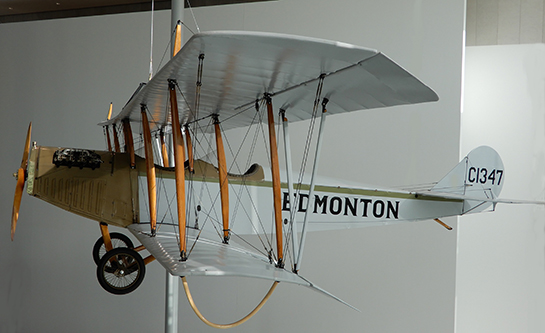 "A restored Canadian-built 1918 Curtiss JN-4 ""Canuck"" hangs in the entry of the Royal Alberta Museum in Edmonton, Alberta. PHOTO: John Chalmers"
