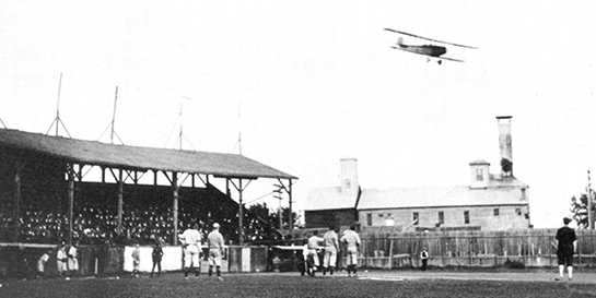 Wop May flew Edmonton mayor Joe Clarke in a low pass over the city's Diamond Park baseball field to drop the first ball to open the 1919 baseball season. PHOTO: City of Edmonton Archives, EA 10-3181