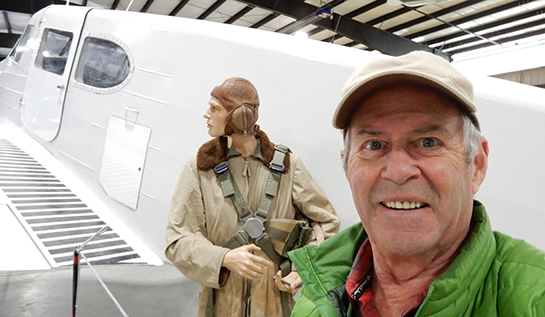 "Visiting the Bomber Command Museum in Nanton, Alberta, provided author John Chalmers with an opportunity to take a selfie with the Cessna Crane's pilot! During the war, Nanton was surrounded by stations of the BCATP that flew Cranes—100 at No. 3 Service Flying Training School in Calgary, 100 at No. 15 SFTS at Claresholm, and 50 at Vulcan, home to No. 2 Flying Instructor School and No. 19 SFTS. No. 19 SFTS was the last posting for Mr. Chalmers' father, J.W. ""Jack"" Chalmers, who served an RCAF navigation instructor during the war. John was in the RCAF Reserve with 418 Squadron during high school, and graduated as a pilot officer with the University of Alberta RCAF squadron. PHOTO: John Chalmers"