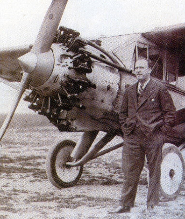 Erroll Boyd and the WB-2 Bellanca aircraft that he flew across the Atlantic, after re-naming it Maple Leaf, when obtained from its American owner for the flight. PHOTO: Boyd family collection