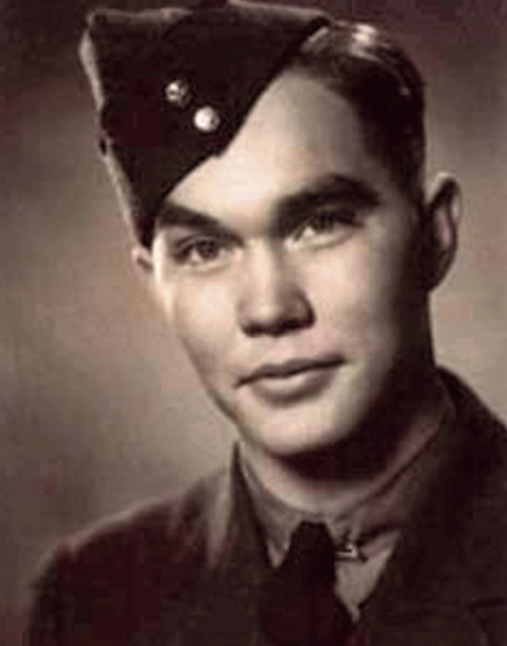 "Vintage head and shoulders photo of a young man wearing a military uniform and Air Force ""wedge"" cap"