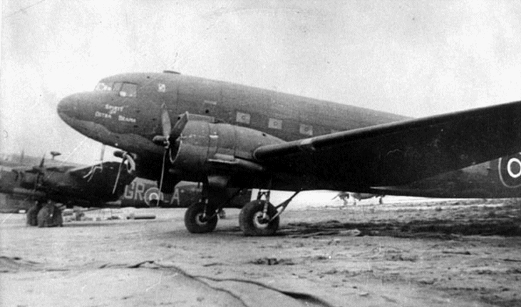 "A Second World War-era photo of ""Spirit of Ostra Brama"", a Royal Air Force C-47 Dakota flown by Polish airmen and used as the personal transport of the general inspector of the Polish Armed Forces, General Kazimierz Sosnkowski. PHOTO: Submitted"
