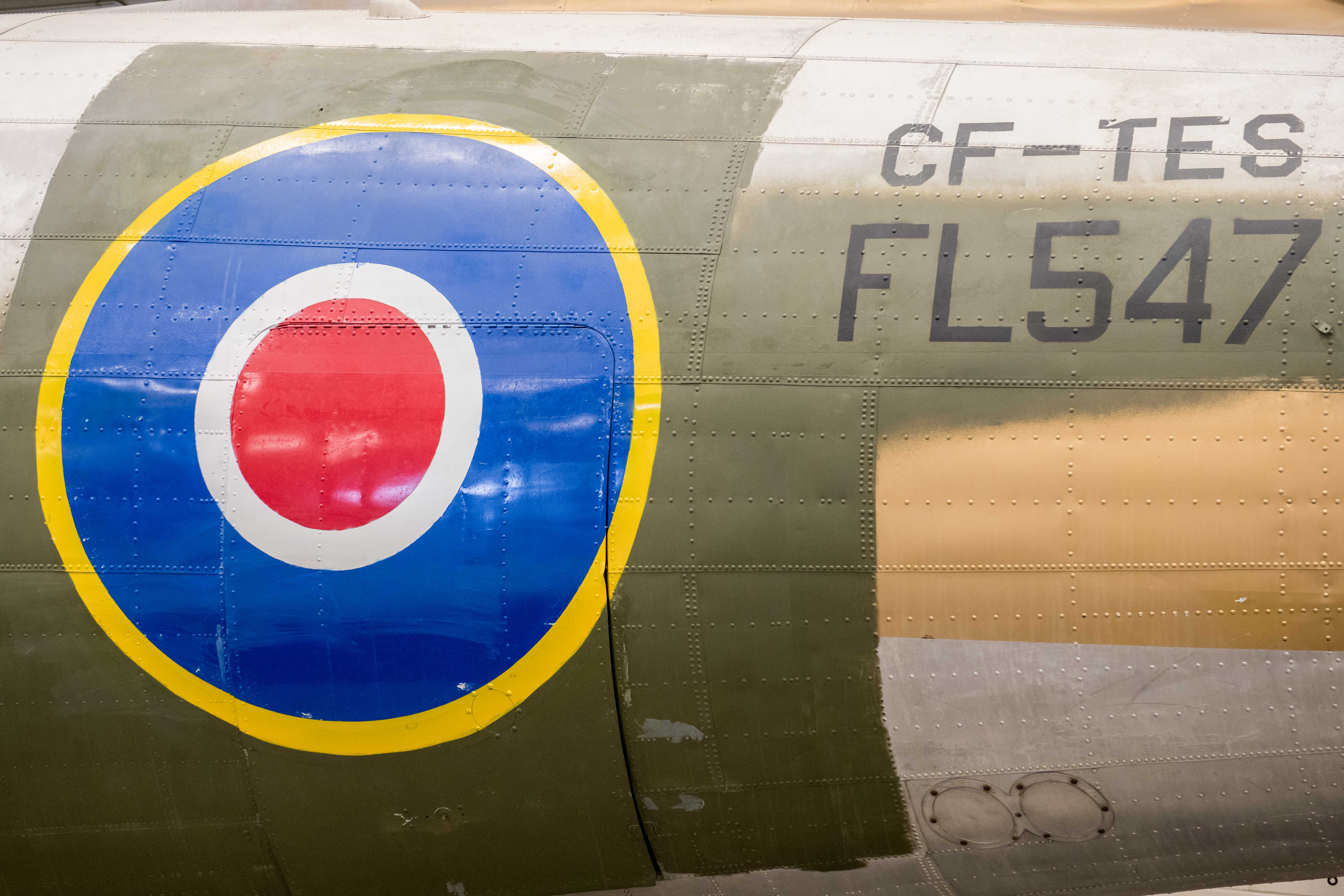 "The repainted roundel and aircraft markings on ""Spirit of Ostra Brama"" on March 4, 2019. The aircraft flew with the Royal Air Force with the registration number FL547 and, later, with Trans-Canada Airlines with the registration number CF-TES. PHOTO: Sergeant Daren Kraus, FW2019-0010-32"