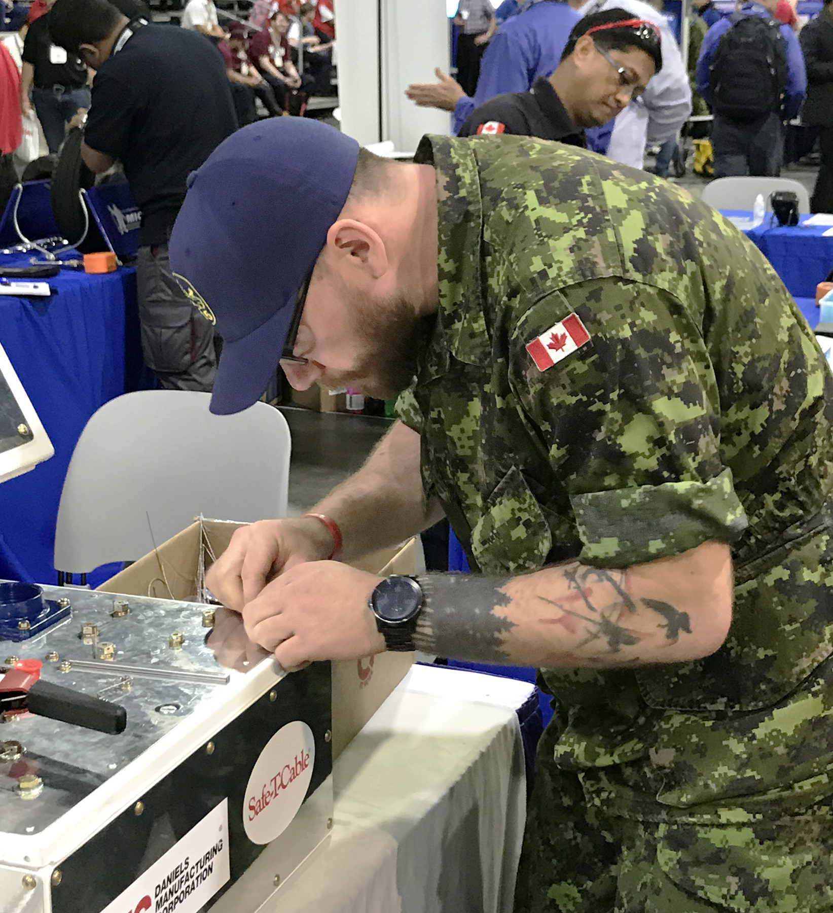 Corporal Jonas Nacinovich, AVN, from 435 Transport and Rescue Squadron, performs a task during the Aerospace Maintenance Competition held in Atlanta, Georgia, April 8-11, 2019 PHOTO: RCAF