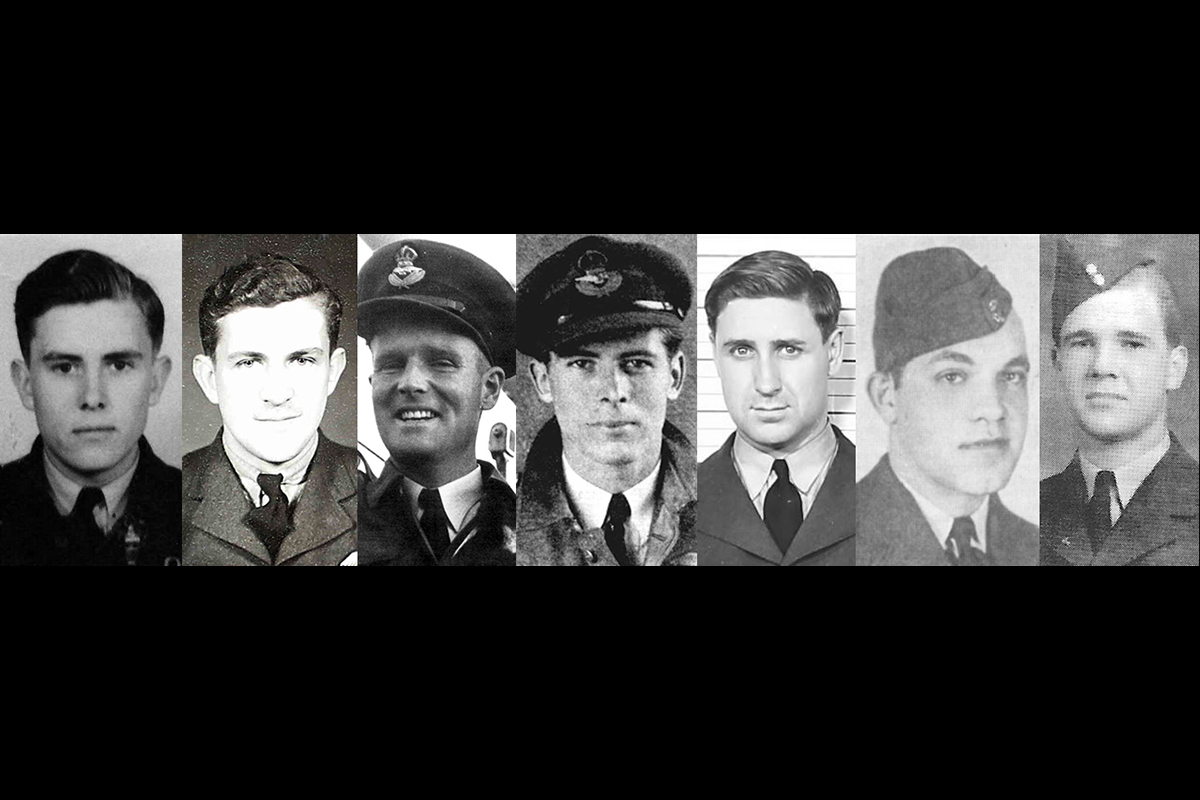 A montage of seven vintage photos of the faces of men wearing military uniforms.